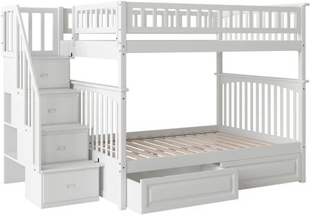 Atlantic Furniture AB5582 Columbia Staircase Bunk Bed Full Over Full With Raised Panel Bed Drawers