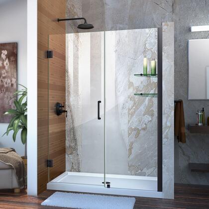 Unidoor Shower Door with Base 12 28D 24P glass shelves 09 72 WM 11 16
