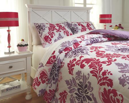 Signature Design by Ashley Ventress Q77700 PC Size Comforter Set includes 1 Comforter and Standard Sham with Bar Tac Quilted Motif Design, 200 Thread Count and Cotton Material in Berry Color