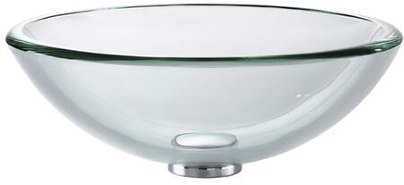 """Kraus GV119MM Singletone Series 17"""" Round Vessel Sink with Tempered Glass Construction and Easy-to-Clean Polished Surface, Clear Glass"""