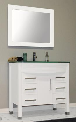 "Cambridge 8130WX 35"" White Wood & Glass Basin Sink Vanity Set with Faucets"