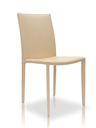 Modloft MD605BGE Varick Series Modern Leather Metal Frame Dining Room Chair