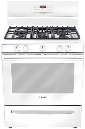"Bosch HGS3023UC 30"" 300 Series Gas Freestanding Range with Sealed Burner Cooktop, 5.0 cu. ft. Primary Oven Capacity, Storage in White"