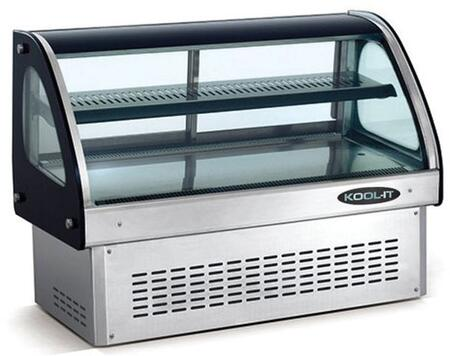 """Kool-It KCDx """" Counter-top Deli Case Curved Glass with 2 Doors, cu. ft. Capacity, LED Lamps, Digital Display Glass, in Black"""