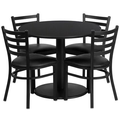 """Flash Furniture RSRB102X-GG 36"""" Round Laminate Table Set with 4 Ladder Back Metal Chairs with Black Vinyl Seat, Commercial Design, 18 Gauge Steel Frame, and Heavy Duty Construction"""