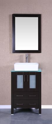 Bosconi Bosconi Vanity Set with Tempered Glass Top, White Rectangle Ceramic Vessel Sink , Faucet and Vertically Mounted Vanity Mirror in White