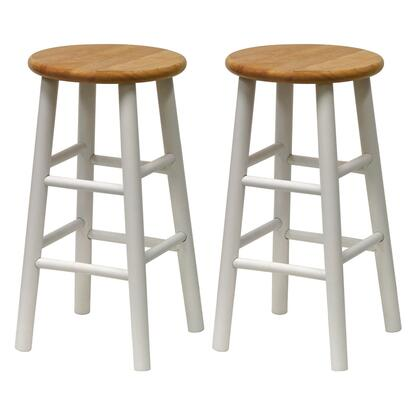 Winsome 5378X Set of 2, Beveled Seat Stool, Assembled in Natural Finish with White Accent