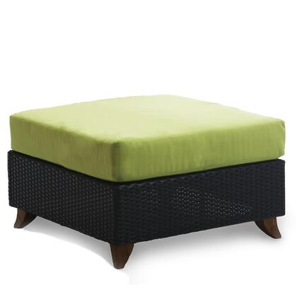 """All Things Cedar PR25 27"""" Rattan Deep Seating Ottoman with Solid Teak Legs, Heavy-Gauge Aluminum Frame and Water Resistant Polyester Fabric Cushion in"""