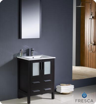 """Fresca Torino Collection FVN6224XX-UNS 24"""" Modern Bathroom Vanity with Integrated Sink, Mirror and 2 Soft Closing Drawers in"""