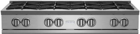 """BlueStar RGTNB Series RGTNB488BV1 48"""" Pro-Style Gas Rangetop With 8 Open Burners, 22,000 BTU Power Burners, Simmer Burner, Single Point Spark Ignition, In Stainless Steel"""
