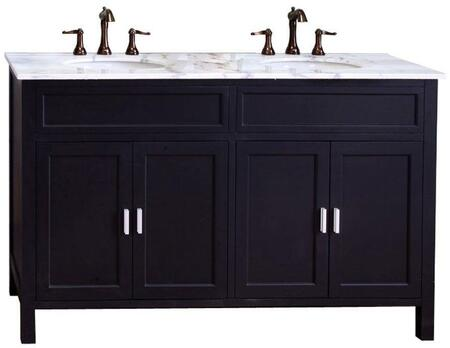 "Bellaterra Home 600168-60 60"" Double Sink Vanity-Wood with Wood Cabinet, Soft Close Hinges"