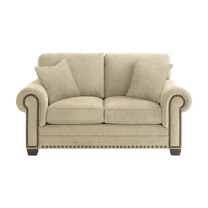 "Bassett Furniture Riverton Collection 3995-42FC/FC122-x 70"" Loveseat with Fabric Upholstery, Nail Head Accents, Rolled Padded Arms and Traditional Style in"