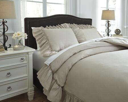 Signature Design by Ashley Clarksdale Q732003 3 PC Size Duvet Cover Set includes 1 Duvet Cover and 2 Standard Shams with Solid Ruffles Frame Design, 300 Thread Count and Cotton/Linen Blend Material in Natural Color