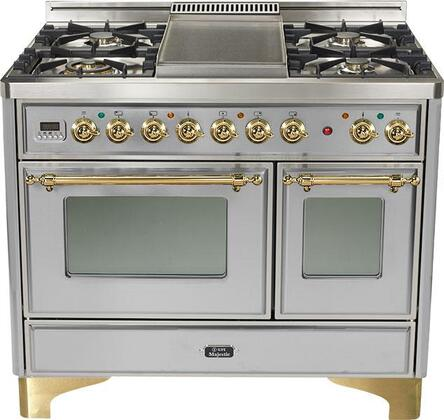 Ilve UMD1006MPI Majestic Series Dual Fuel Freestanding Range with Sealed Burner Cooktop, 2.44 cu. ft. Primary Oven Capacity, Warming in Stainless Steel