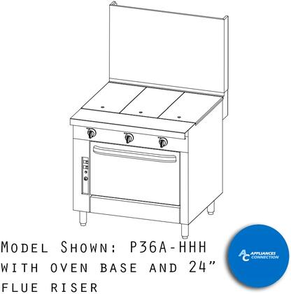 "Southbend P36HHH Platinum Series 36"" Uniform Hot Top with Six Standard Burners and Electornic Pilot Ignition, Up to 96000 BTUs (NG/LP)"