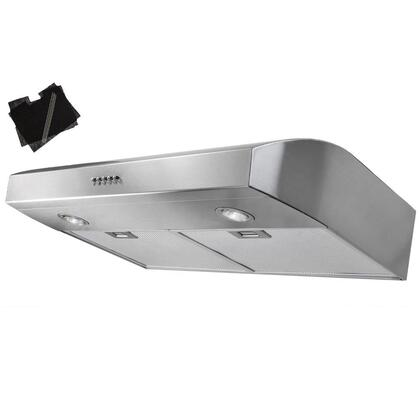 "AKDY AURW130X 30"" Under Cabinet Range Hood with 300 CFM, 65 dB, Centrifugal Motor, Crisp Analog Push Buttons, Halogen Lighting, 3 Fan Speed, Aluminum Grease Filter and Ductless: X"