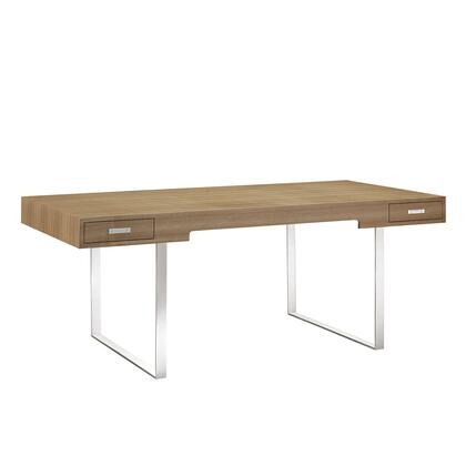 """Modway Tinker EEI-293 74.5"""" Office Desk with Dual Storage Drawers, Polished Stainless Steel Base and Veneer Materials in"""