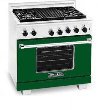 American Range ARR366LFG Heritage Classic Series Liquid Propane Freestanding Range with Sealed Burner Cooktop, 5.6 cu. ft. Primary Oven Capacity, in Green
