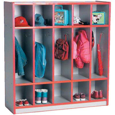 Mahar N50350 5-Section Single-Sided Child Locker with Top & Bottom Cubbies in Gray Nebula Finish with Edge Color