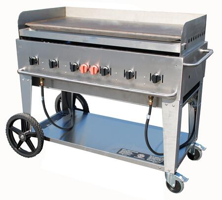 "Crown Verity CV-MG-48XX 56"" Wide Mobile Griddle with 99,000 BTU/H, 6 Burners, 46"" Cooking Surface, Pro Griddle Plate, Splash Guard and Removable Grease Tray in Stainless Steel"