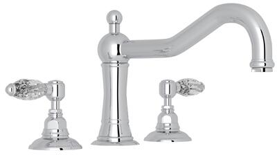 Rohl A1414LC Italian Country Bath Collection Acqui Three-Hole Deck Mounted Column Spout Tub Filler with up to 17 GPM Water Flow and Swarovski Crystal Levers in
