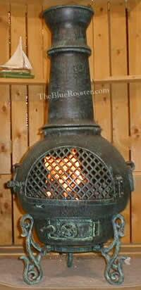 The Blue Rooster Company ALCH016GKLP Gas Powered Gatsby Chiminea Outdoor Fireplace - Liquid Propane