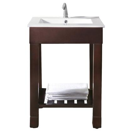 Avanity Loft LOFT-VSXX-DW Vanity with Integrated Vitreous China top, Adjustable Height Levelers, Stainless Steel Towel Bars, and Open Slatted Shelf in a Dark Walnut Finish