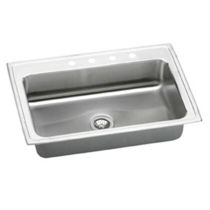 "Elkay PSRS33220 33"" Top Mount U-Channel Type Mounting System Single Bowl 20-Gauge Stainless Steel Sink With"