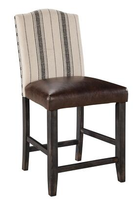 Signature Design by Ashley Moriann D608-3 Upholstered Barstool with Faux Leather Seat Cover, Linen Back Cover and Distressed Tapered Legs in Dark Brown Finish