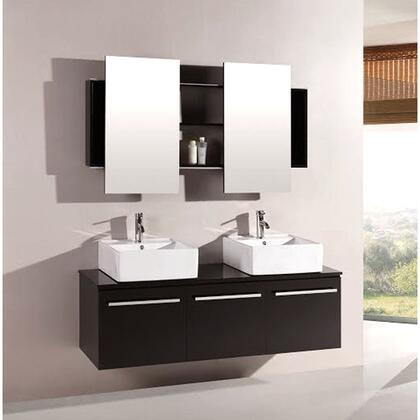 Agni Series 59.25 In. Double Vanity in Espresso with Glass Vanity Top in Black with Double Mirrors 7017