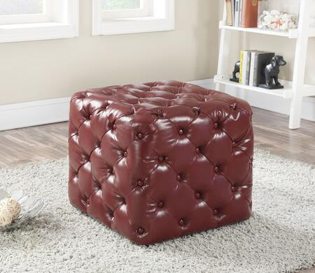 """Acme Furniture Norris 24"""" Square Ottoman with Button Tufted, Plastic Legs and PU Leather Upholstery in"""