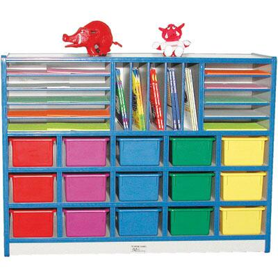 Mahar M60302 15 Opening Cubbie Unit With Letter Slots with Trays in Maple Finish with Edge Color