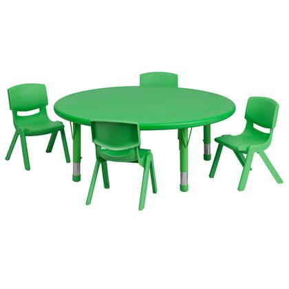 """Flash Furniture YU-YCX-0053-2-ROUND-TBL-XX-E-GG 45"""" Round Adjustable Plastic Activity Table Set with 4 School Stack Chairs"""