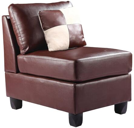 "Glory Furniture 23"" Armless Chair with Removable Cushions, Tapered Legs, Removable Back and PU (Bycast) Leather Upholstery in"