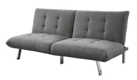 """Monarch I896XFT 70"""" Click Clack Futon with Split Back, Angled Chrome Legs and Linen Fabric Upholstery in"""