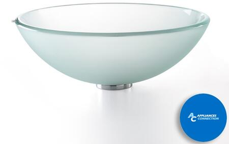 """Kraus CGV101FR12MM1002 Singletone Series 17"""" Round Vessel Sink with 12-mm Tempered Glass Construction, Easy-to-Clean Polished Surface, and Included Sheven Faucet, Frosted Glass"""