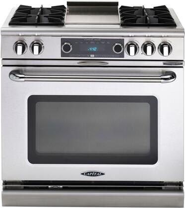 "Capital COB362G2N 36"" Connoisseurian Series Dual Fuel Freestanding Range with Open Burner Cooktop, 5.4 cu. ft. Primary Oven Capacity, in Stainless Steel"