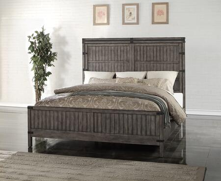 Legends Furniture Storehouse Collection ZSTR-700BED Panel Bed with Heavy Distressing, Line Etchings and Dado Construction in Smoke Grey Finish
