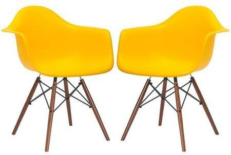 EdgeMod EM110WALYELX2 Vortex Series Modern Wood Frame Dining Room Chair