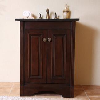 Legion Furniture WLF5048-DW-XX-CABINET ONLY Dark Walnut Vanity W/Soft Close Doors- No Faucet