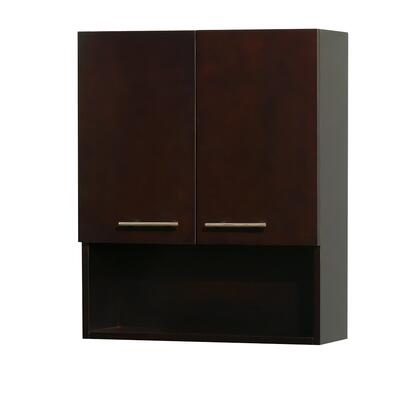 "Wyndham Collection Centra WCV207 24"" Bathroom Wall Cabinet with Two (2) Soft-Close Doors, Three (3) Storage Levels, and Metal Exterior Hardware with Brushed Chrome Finish in"