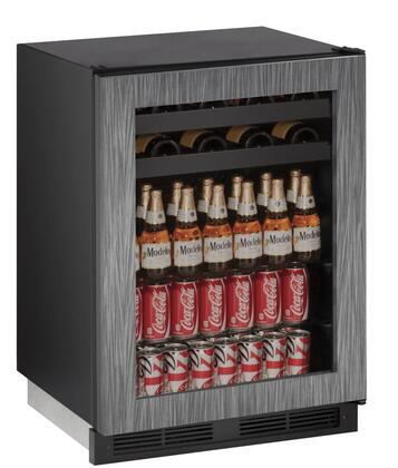 """U-Line U-1224BEVx 24"""" 1000 Series Built-In Beverage Center with 5.4 cu. ft. Capacity, Passive Cooling System, 2 Wine Racks, 2 Glass Shelves, Digital Touchpad Control, and UV-Protected Glass Door, in"""