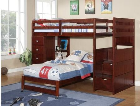 Donco 125CP Twin over Modular Loft Bed Stair Section: Cappuccino