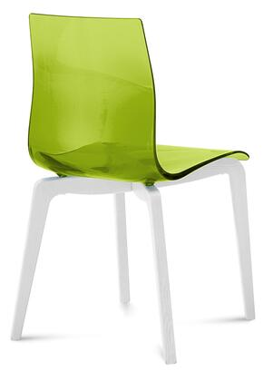 Domitalia GELSLSFLBOSS Gel Dining Room Chair with White Mat Lacquered  Ashwood Frame, Tapered Legs and Acryl Nitrile Styrene Shell in