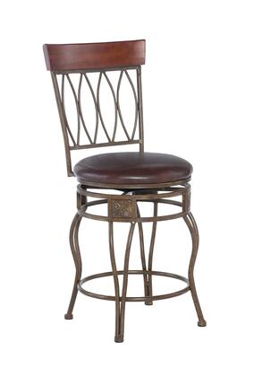 Linon 02562MTL01KDU Oval Back Series Residential or Commercial PVC Upholstered Bar Stool