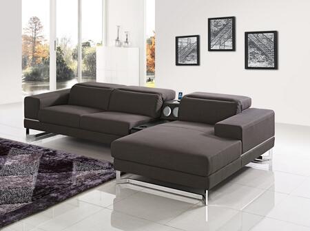 VIG Furniture VGMB1416BRN Divani Casa Cinema Series Sofa and Chaise Fabric Sofa