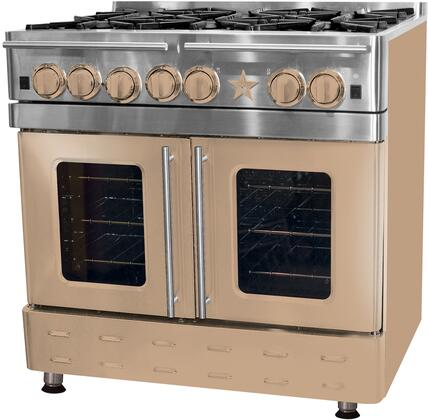 """BlueStar RNB364GPMV 36"""" Precious Metals Series Gas Range with 4 Burners, 12"""" Griddle, Continuous Cast Iron Grates and Unique French Door Extra Large Convection Oven (Select Color Option)"""