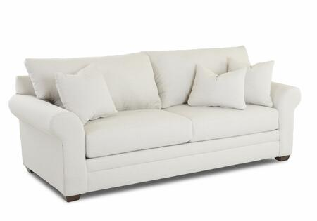 """Klaussner Annalee Collection K15500-SC- 90"""" Sofa with Rolled Arms, Knifed Edged Back Cushions, Three Arm Pillows and Fabric Upholstery in"""