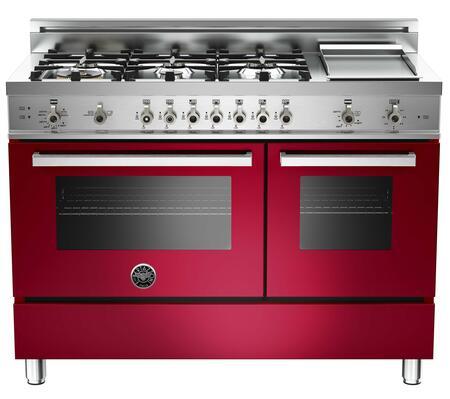 "Bertazzoni PRO486GGASVI 48"" Professional Series Gas Freestanding Range with Sealed Burner Cooktop, 3.6 cu. ft. Primary Oven Capacity, Storage in Burgundy"