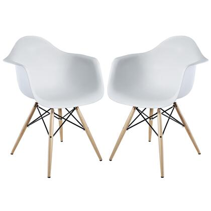 Modway EEI929WHI Pyramid Series Modern Not Upholstered Wood Frame Dining Room Chair